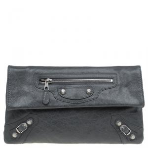 Balenciaga Grey Leather Silver hardware Envelope Clutch