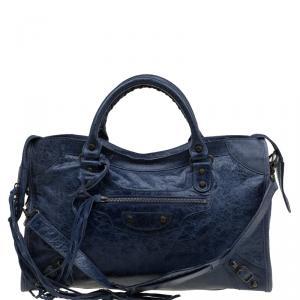 حقيبة يد بالنسياغا كلاسيك سيتي RH جلد زرقاء كحلية