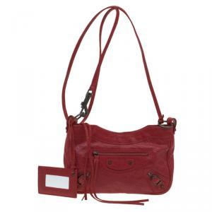 Balenciaga Red Leather RH Hip Crossbody  Bag