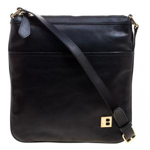 Bally Black Leather Messenger Bag