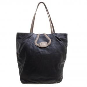 Bally Black Leather Shopper Tote