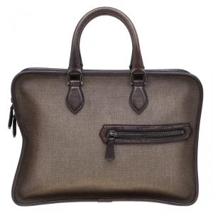 Berluti Taupe Canvas and Leather Script Un Jour Briefcase