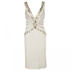 Blumarine Beige Silk Knit Swarovski Embellished Sleeveless Dress M