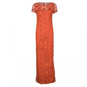 Blumarine Orange Floral Lace Embellished Maxi Dress S