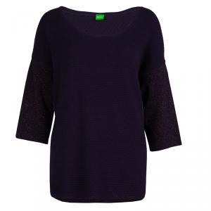 Boss  by Hugo Boss Purple Lurex Sleeve Detail Sweater M