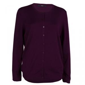 Boss by Hugo Boss Purple Dotted Wool Cardigan L