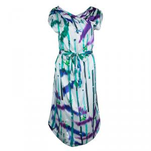 Boss by Hugo Boss White Silk Multicolor Printed Front Crossover Dress M