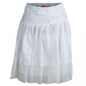 Boss By Hugo Boss White  Embroidered Mini A- Line Skirt M