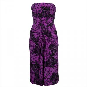 Bottega Veneta Purple Chrysanthemum Print Silk Bandeau Dress S