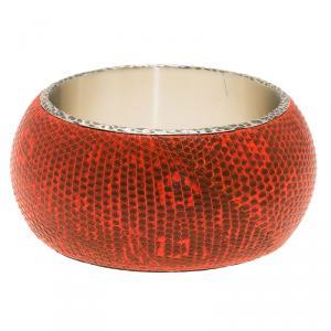 Bottega Veneta Intrecciato Ayeres Neon Orange Silver Snake Skin Bangle Bracelet