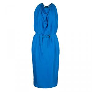 Bottega Veneta Blue Sleeveless Belted Dress S