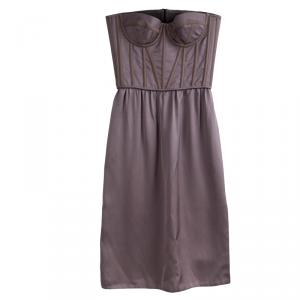 Bottega Veneta Dull Purple Silk Strapless Corset Dress S