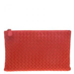 Bottega Veneta Red/Orange Intrecciato Woven Leather Medium Pouch