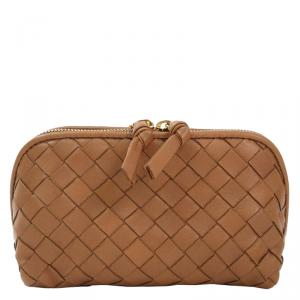 Bottega Veneta Brown Intrecciato Woven Nappa Leather Cosmetic Pouch