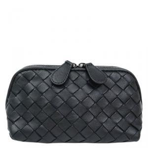Bottega Veneta Black Intrecciato Woven Nappa Leather Cosmetic Pouch