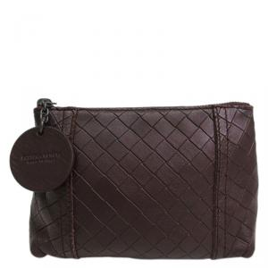 Bottega Veneta Brown Intrecciomirage Leather Pouch