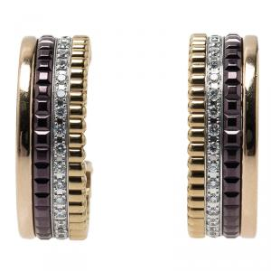 Boucheron Quatre Classic Diamonds Brown Ceramic Gold Hoops Earrings