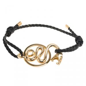 Boucheron Snake Yellow Gold Braided Leather Bracelet