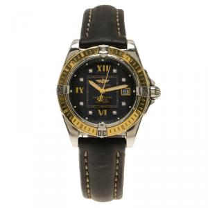 Breitling Black 18K Yellow Gold and Stainless Steel Cockpit Lady Women's Wristwatch 32MM