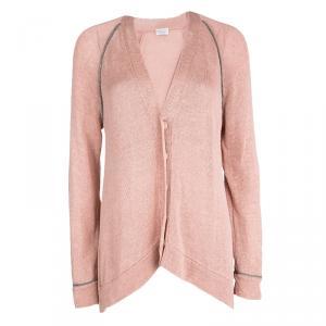 Brunello Cucinelli Pink Cotton Knit Beaded Trim Detail High Low Cardigan L