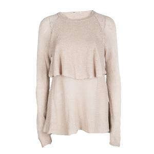 Brunello Cucinelli Beige Sequinned Knit Layered Long Sleeve Sweater L