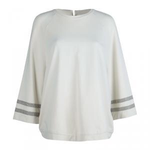 Brunello Cucinelli Beige Embellished Sleeve Sweatshirt L