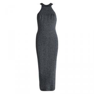 Brunello Cucinelli Silver Rib Knit Sleeveless Bodycon Dress XS