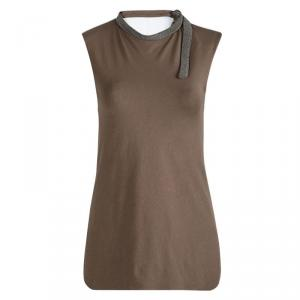 Brunello Cucinelli Brown Jersey Embellished Neck Detail Sleeveless Top S