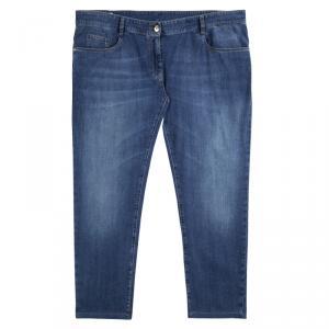 Brunello Cucinelli Blue Denim Low Waist Slim Straight Fit Jeans XXL