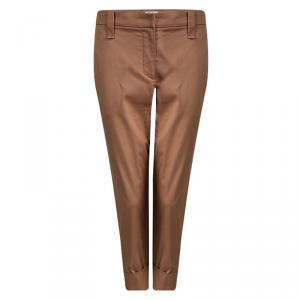 Brunello Cucinelli Rust Orange Cotton Tailored Pants M