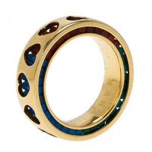 Bucherer Dizzler Agate Yellow Gold Heart Cut Out Band Ring
