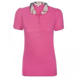 Burberry Brit Crimson Pink Novacheck Collar Polo Shirt M