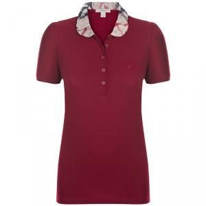 Burberry Brit Red Novacheck Collar Polo Shirt S