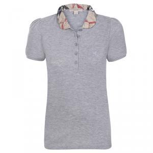 Burberry Brit Grey Melange Novacheck Collar Polo Shirt S
