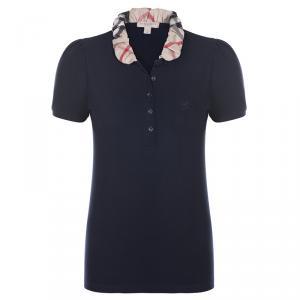 Burberry Brit Navy Blue Novacheck Collar Polo Shirt L