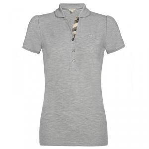 Burberry Brit Grey Melange Check Placket Polo Shirt L