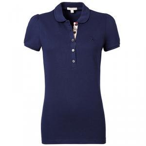 Burberry Brit Navy Blue Check Placket Polo Shirt L