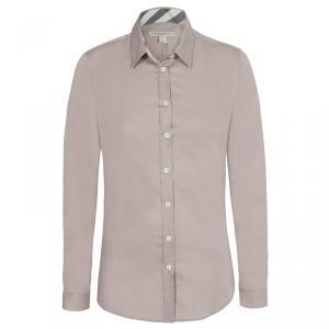 Burberry Brit Beige Novacheck Detail Cotton Shirt L
