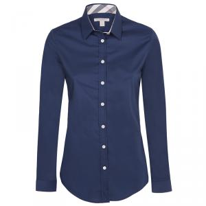 Burberry Brit Navy Blue Novacheck Detail Cotton Shirt L