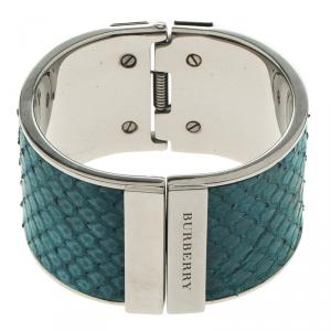 Burberry Blue Snakeskin Leather Hinged Wide Cuff Bracelet 17cm