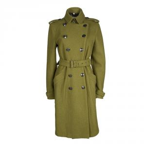 Burberry London Green Wool Double Breasted Belted Overcoat M