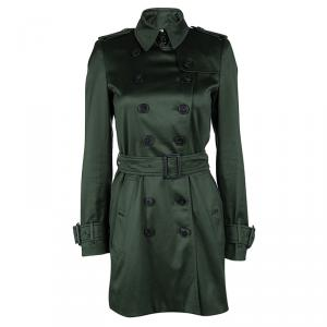 Burberry Dark Green Double Breasted Belted Trench Coat S