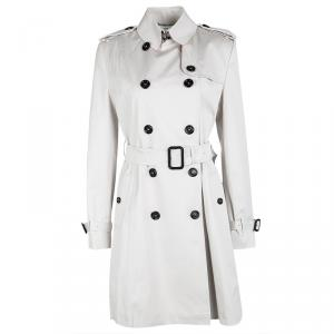 Burberry London Pale Grey Cotton Double Breasted Belted Trench Coat S