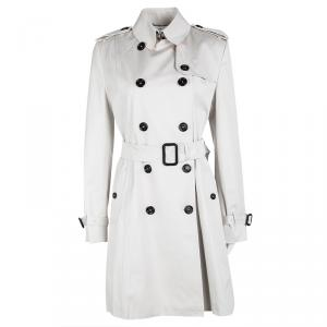 Burberry London Pale Grey Cotton Double Breasted Belted Trench Coat XS