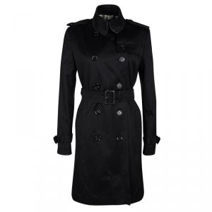 Burberry London Black Cotton Belted Trench Coat S