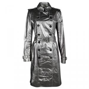 Burberry London Metallic Diamond Patterned Lambskin Belted Trench Coat M