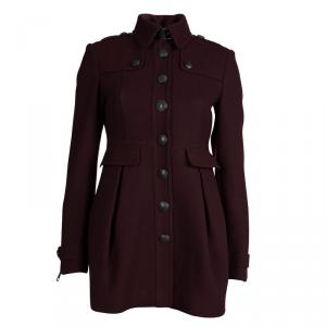 Burberry Brit Burgundy Wool Coat S