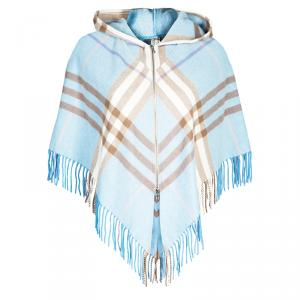Burberry London Hooded Blue Check Fringed Poncho OS