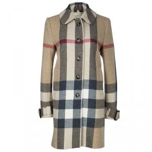 Burberry Beige Wool Nova Check Coat M