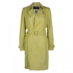 Burberry London Pastel Yellow Leather Belted Trench Coat S
